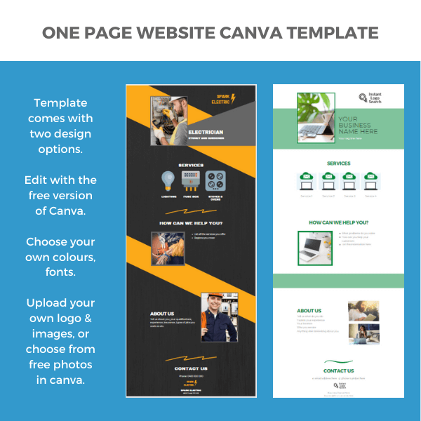 One Page Website Canva Template